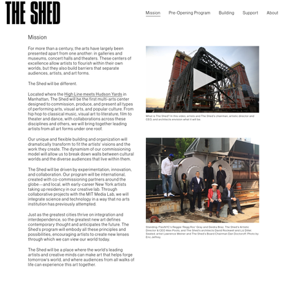 Mission | THE SHED, OPENING 2019
