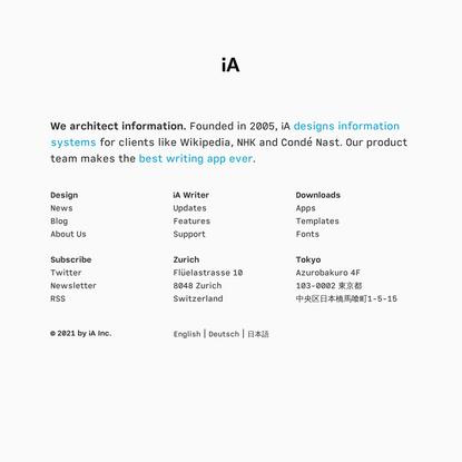 We Architect Information – iA