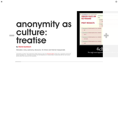 Triple Canopy - Anonymity as Culture: Treatise by David Auerbach