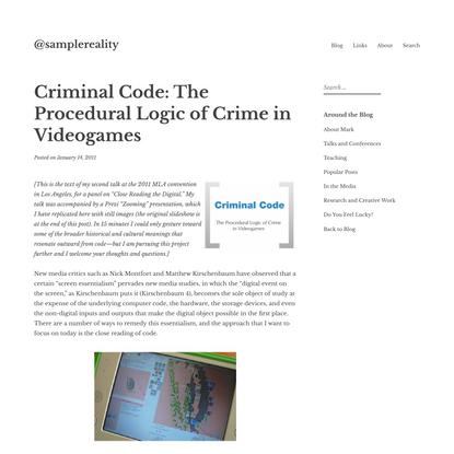 Criminal Code: The Procedural Logic of Crime in Videogames