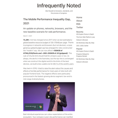 The Mobile Performance Inequality Gap, 2021 - Infrequently Noted