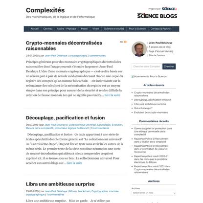 Complexités : mathématiques, logique et informatique | blogs Pour la Science
