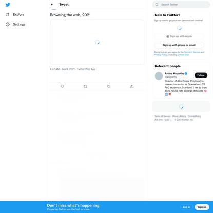 "Andrej Karpathy on Twitter: ""Browsing the web, 2021 pic.twitter.com/VKJ7OkZ3nr / Twitter"""