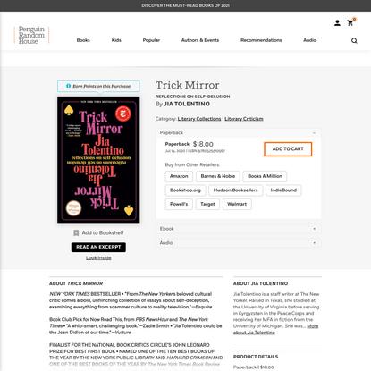 Trick Mirror by Jia Tolentino: 9780525510567 | PenguinRandomHouse.com: Books