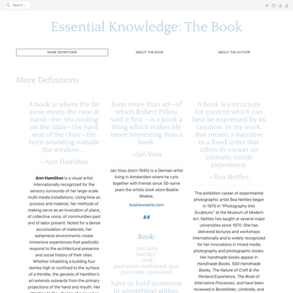 More Definitions - Essential Knowledge: The Book