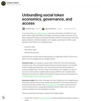 Unbundling social token economics, governance, and access — Mirror