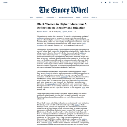 Black Women in Higher Education: A Reflection on Inequity and Injustice | The Emory Wheel
