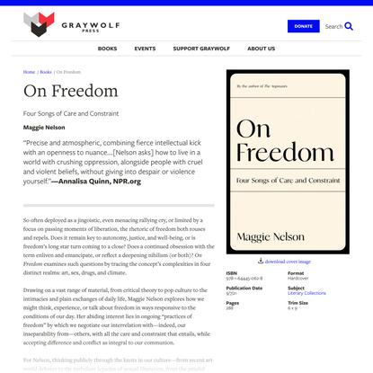On Freedom | Graywolf Press