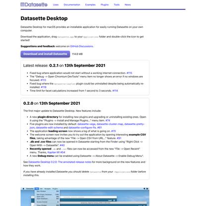 Datasette Desktop for macOS