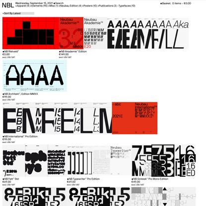 NBL — Product categories Typefaces