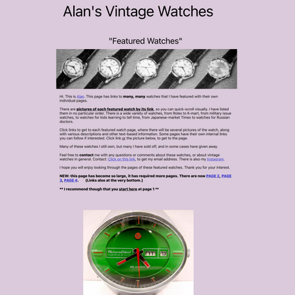 Alan's Vintage Watches. Featured watches. Many pages of select watch, many photos