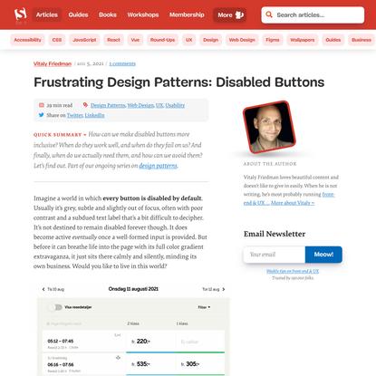 Frustrating Design Patterns: Disabled Buttons — Smashing Magazine