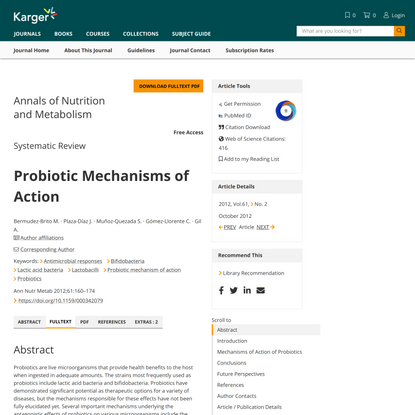 Probiotic Mechanisms of Action