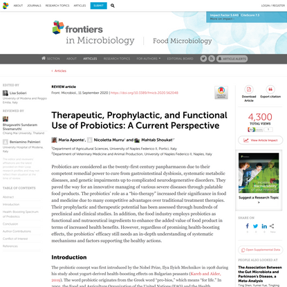 Therapeutic, Prophylactic, and Functional Use of Probiotics: A Current Perspective