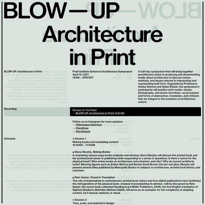 BLOW-UP: Architecture in Print   April 10, 2021