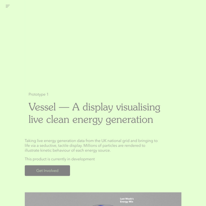 Vessel - A display visualising live clean energy generation — Everyone Forever