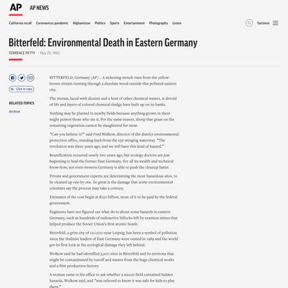 Bitterfeld: Environmental Death in Eastern Germany