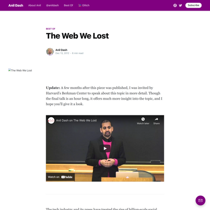 The Web We Lost