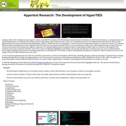 Hypertext Research: The Development of HyperTIES