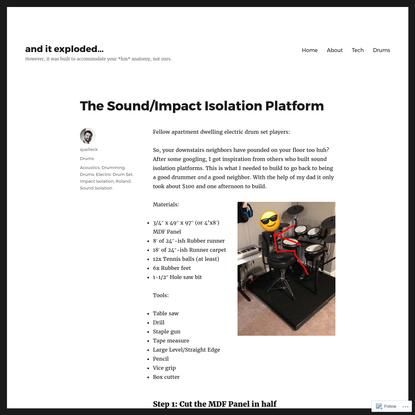 The Sound/Impact Isolation Platform