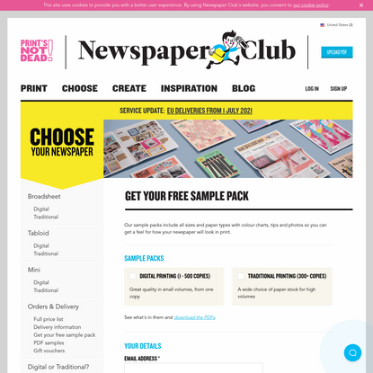 Get your free sample pack from Newspaper Club