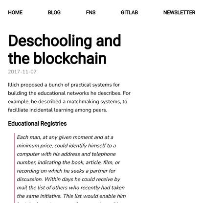 fathom: fathom: Deschooling and the blockchain