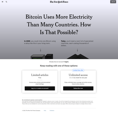 Bitcoin Uses More Electricity Than Many Countries. How Is That Possible?