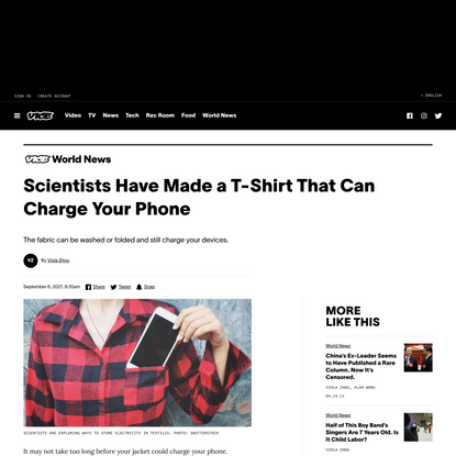 Scientists Have Made a T-Shirt That Can Charge Your Phone
