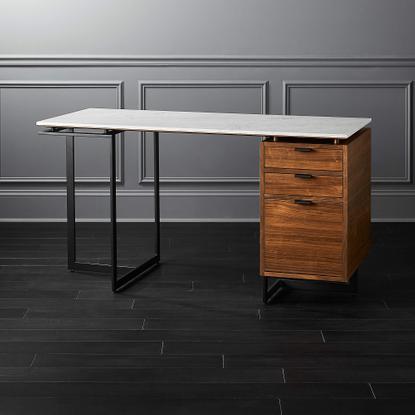 Fullerton Modular White Desk with Walnut Drawer and Leg + Reviews | CB2