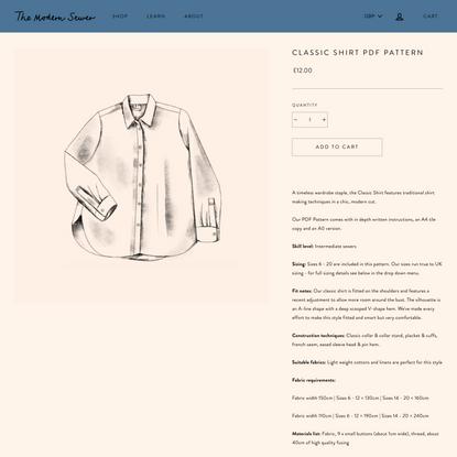 Classic Shirt PDF Pattern