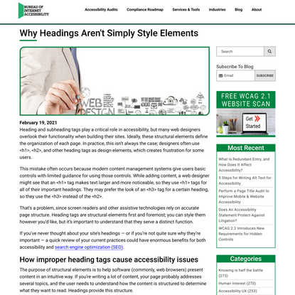 Why Headings Aren't Simply Style Elements
