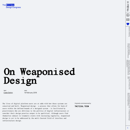 On Weaponised Design - A New Design Congress Essay