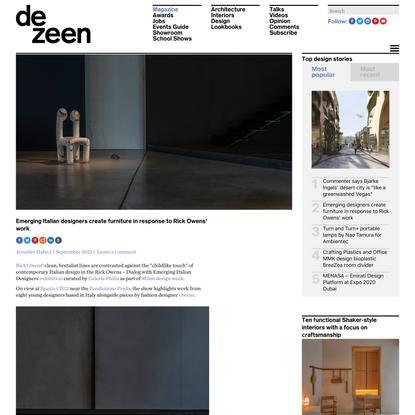 Emerging Italian designers create furniture in response to Rick Owens' work