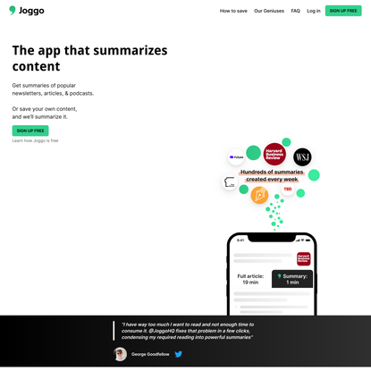 Joggo - The read-later app that summarizes your content