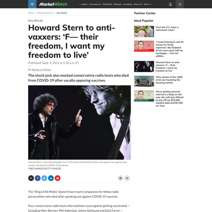 Howard Stern to anti-vaxxers: 'F— their freedom, I want my freedom to live' - MarketWatch
