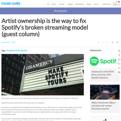 Artist ownership is the way to fix Spotify's broken streaming model
