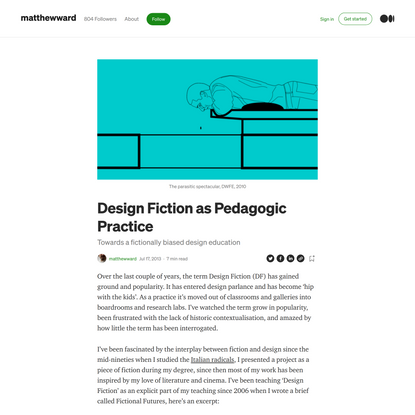 Design Fiction as Pedagogic Practice