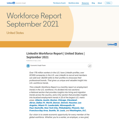 September Workforce Report 2021