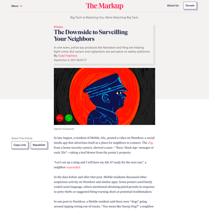 The Downside to Surveilling Your Neighbors – The Markup