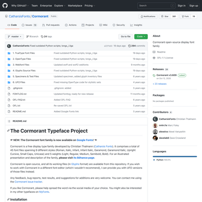 GitHub - CatharsisFonts/Cormorant: Cormorant open-source display font family
