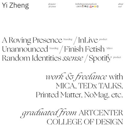 Yi, multidisciplinary designer based in Los Angeles