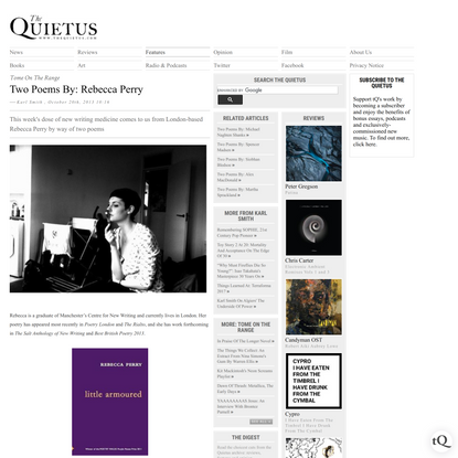 The Quietus | Features | Tome On The Range | Two Poems By: Rebecca Perry