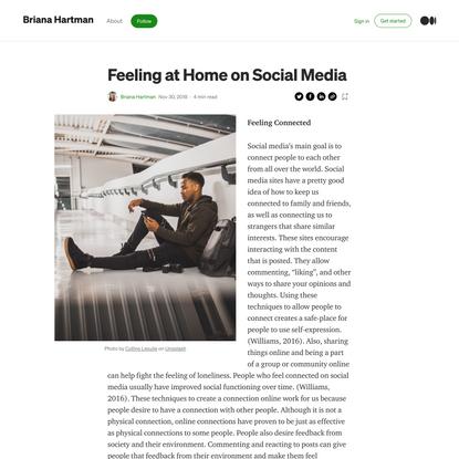 Feeling at Home on Social Media