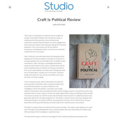 Craft Is Political Review — Studio Magazine