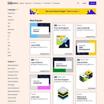 Catalog Home   Codecademy
