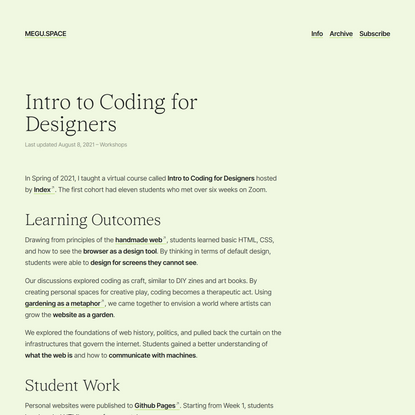 Intro to Coding for Designers
