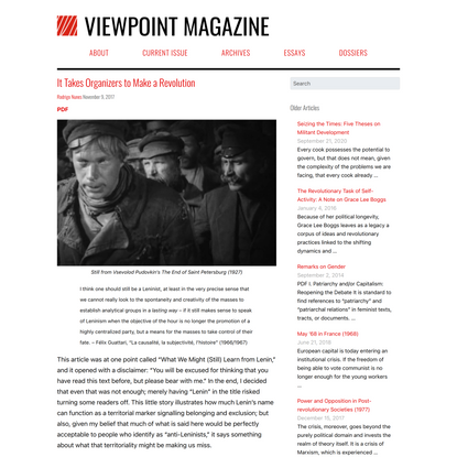 It Takes Organizers to Make a Revolution - Viewpoint Magazine