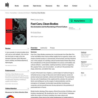 Fast Cars, Clean Bodies | The MIT Press