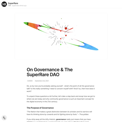 On Governance & The SuperRare DAO — Mirror