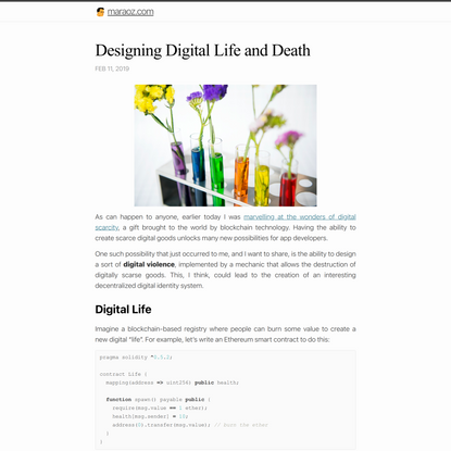 Designing Digital Life and Death